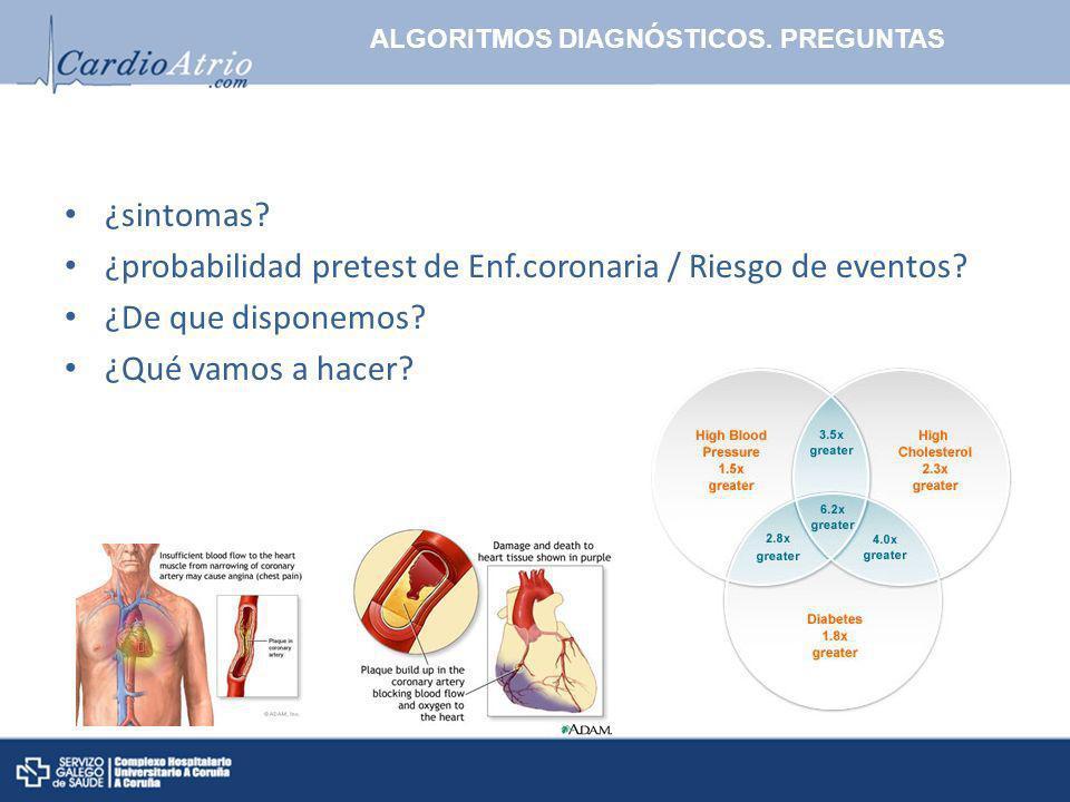 ALGORITMOS DIAGNÓSTICOS. PREGUNTAS ¿sintomas? ¿probabilidad pretest de Enf.coronaria / Riesgo de eventos? ¿De que disponemos? ¿Qué vamos a hacer?