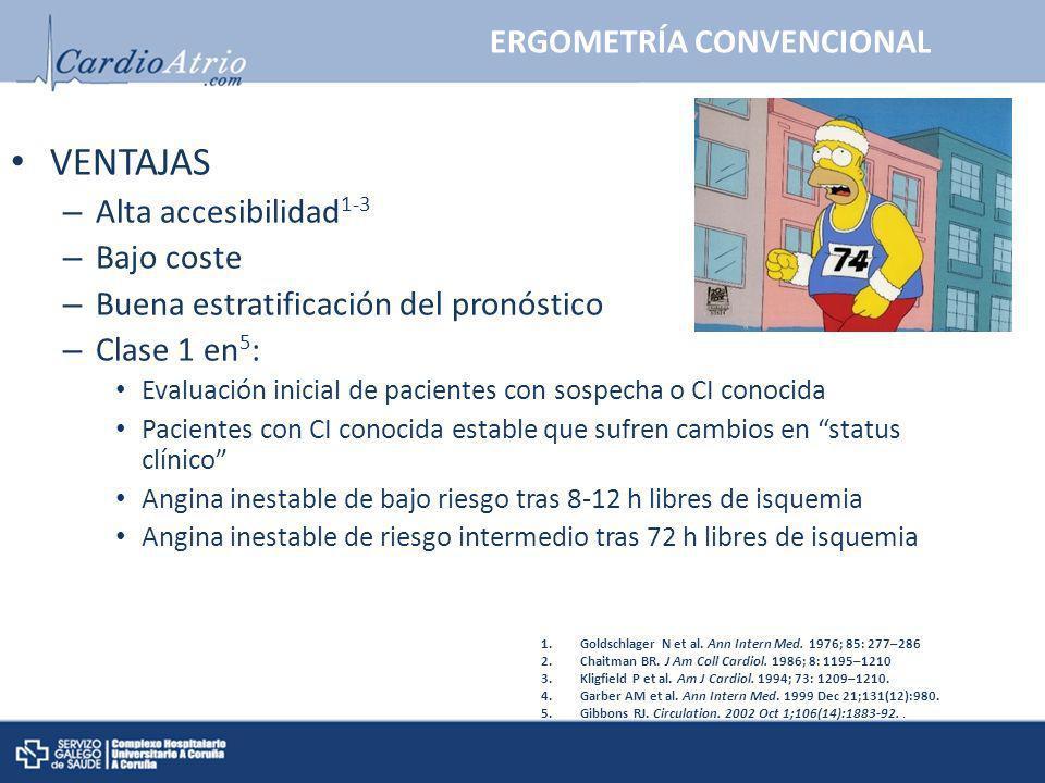 ERGOMETRÍA CONVENCIONAL VENTAJAS – Alta accesibilidad 1-3 – Bajo coste – Buena estratificación del pronóstico – Clase 1 en 5 : Evaluación inicial de p