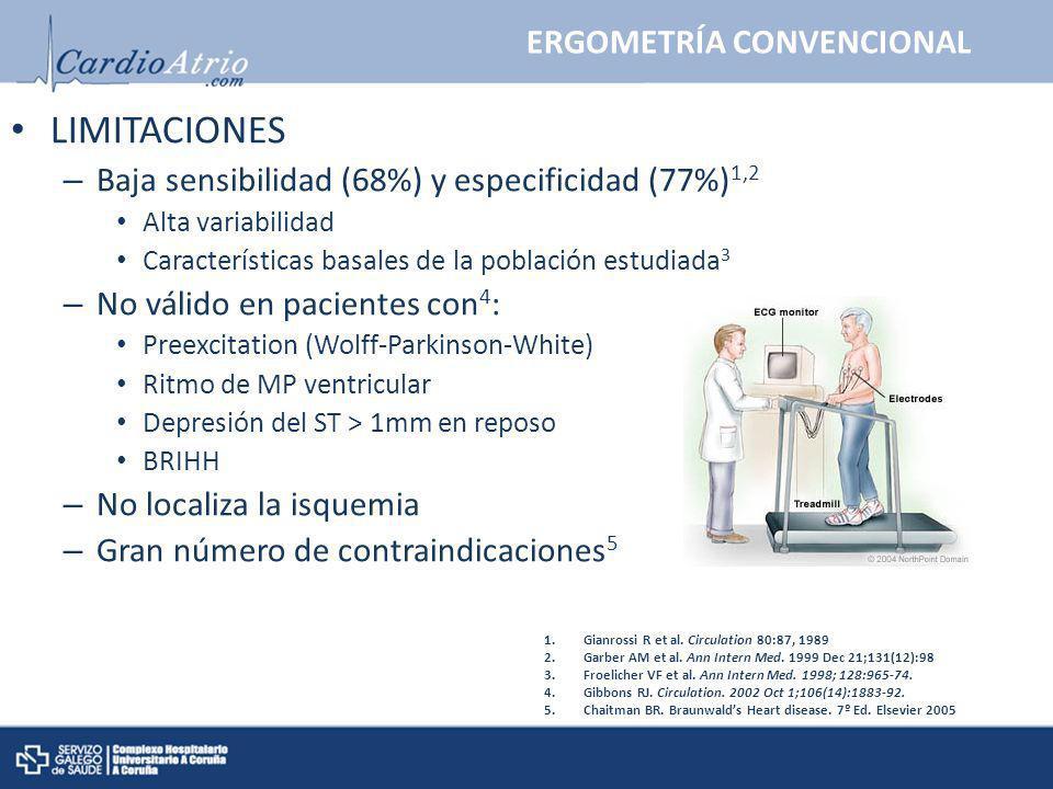 ERGOMETRÍA CONVENCIONAL LIMITACIONES – Baja sensibilidad (68%) y especificidad (77%) 1,2 Alta variabilidad Características basales de la población est