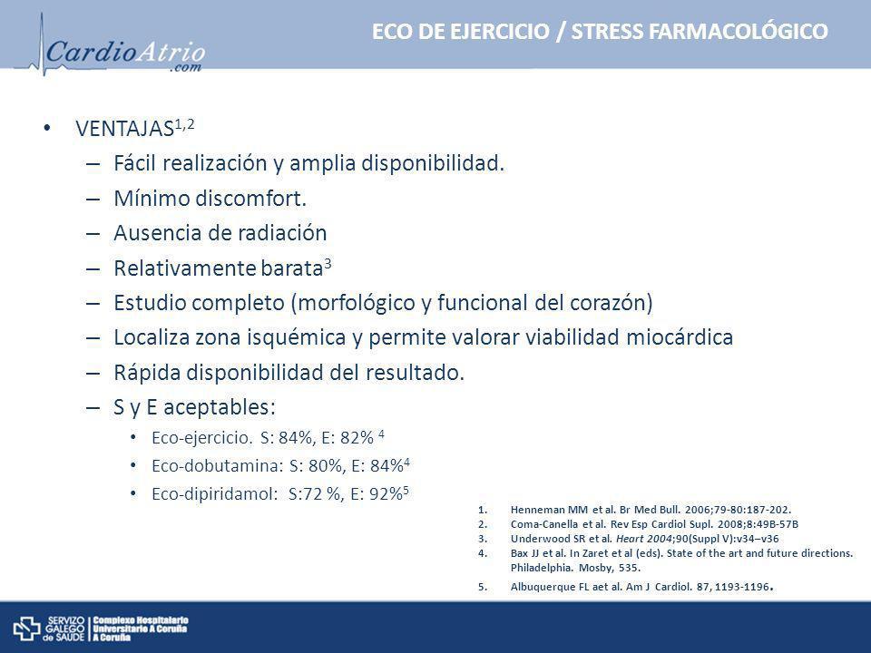 ECO DE EJERCICIO / STRESS FARMACOLÓGICO VENTAJAS 1,2 – Fácil realización y amplia disponibilidad. – Mínimo discomfort. – Ausencia de radiación – Relat