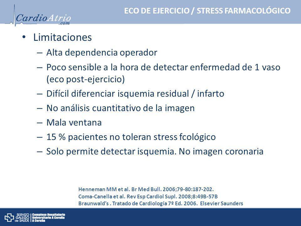 Limitaciones – Alta dependencia operador – Poco sensible a la hora de detectar enfermedad de 1 vaso (eco post-ejercicio) – Difícil diferenciar isquemi