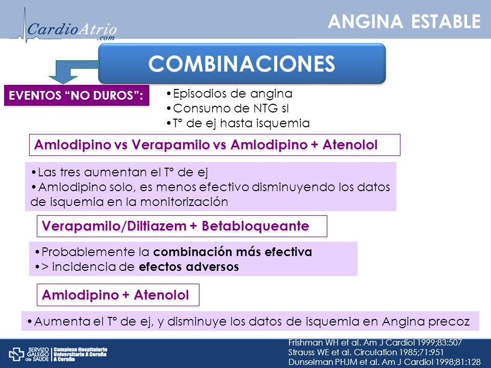COMBINACIONES Las tres aumentan el Tº de ej Amlodipino solo, es menos efectivo disminuyendo los datos de isquemia en la monitorización Frishman WH et