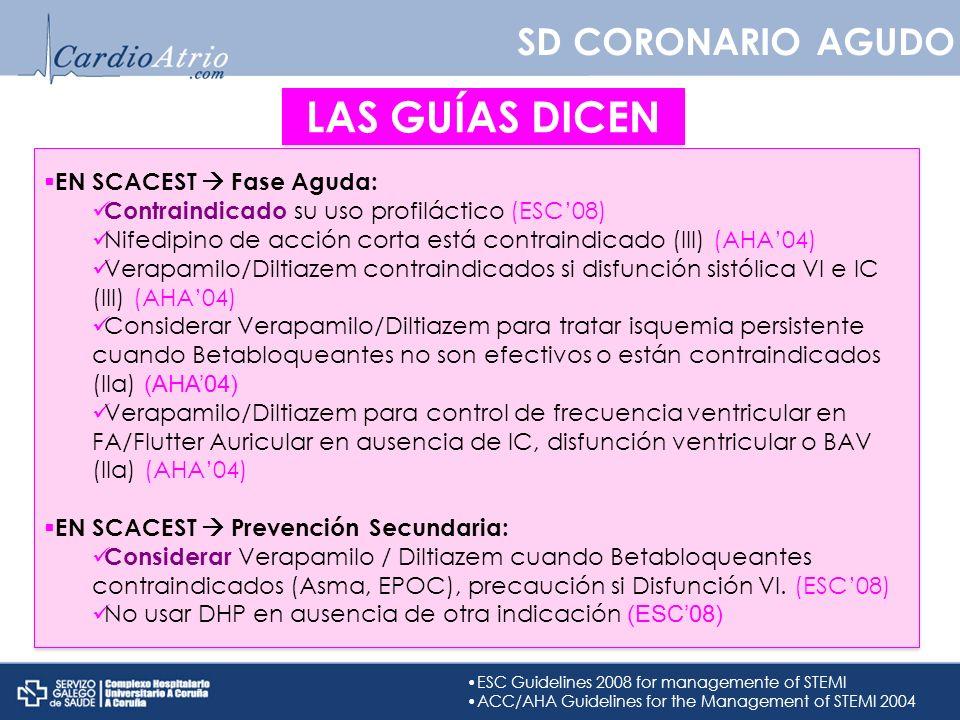 SD CORONARIO AGUDO LAS GUÍAS DICEN EN SCACEST Fase Aguda: Contraindicado su uso profiláctico (ESC08) Nifedipino de acción corta está contraindicado (I