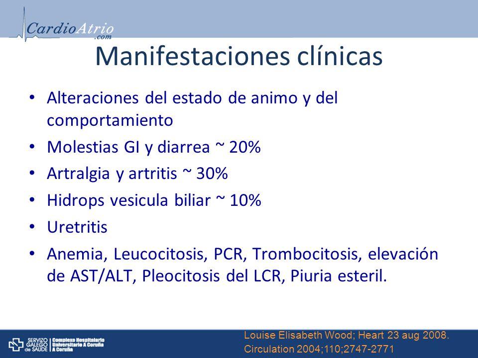 Manifestaciones clínicas Alteraciones del estado de animo y del comportamiento Molestias GI y diarrea ~ 20% Artralgia y artritis ~ 30% Hidrops vesicul