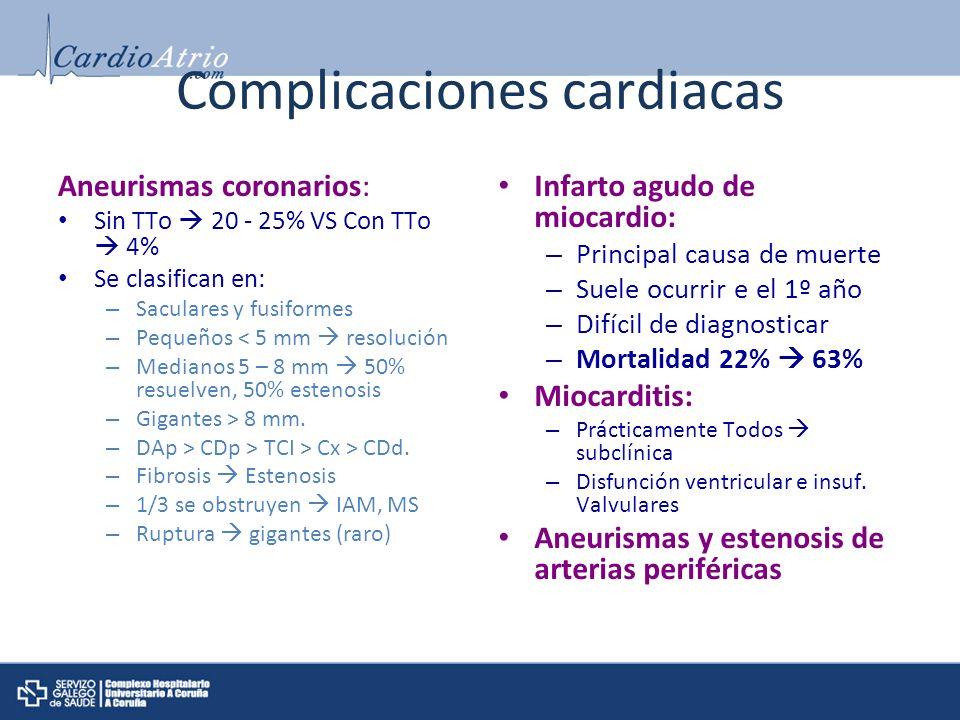 Complicaciones cardiacas Aneurismas coronarios: Sin TTo 20 - 25% VS Con TTo 4% Se clasifican en: – Saculares y fusiformes – Pequeños < 5 mm resolución