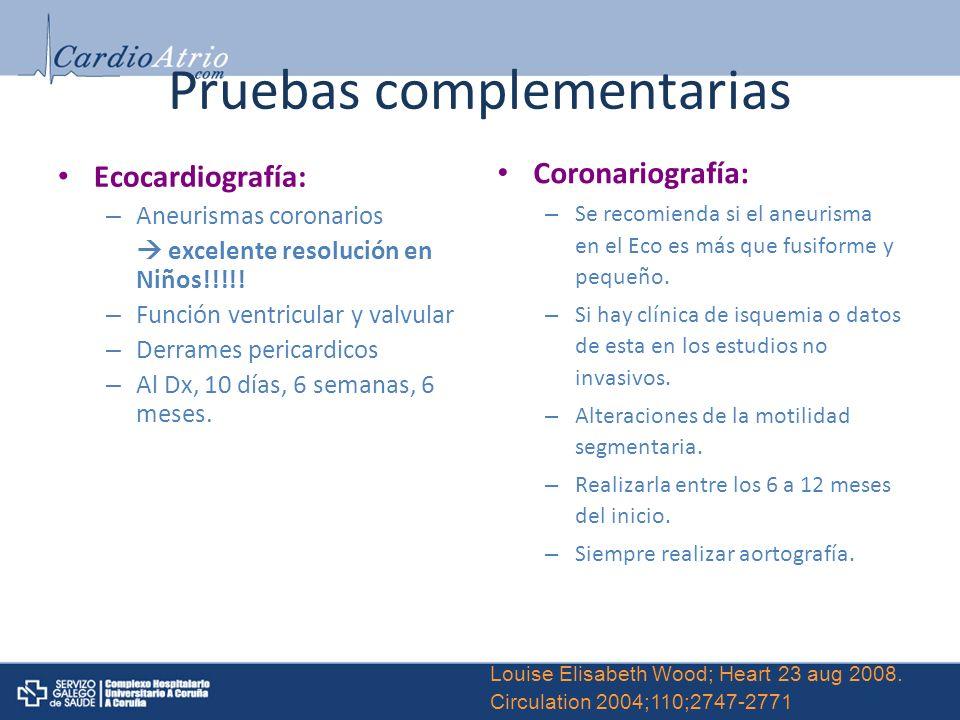 Pruebas complementarias Ecocardiografía: – Aneurismas coronarios excelente resolución en Niños!!!!! – Función ventricular y valvular – Derrames perica