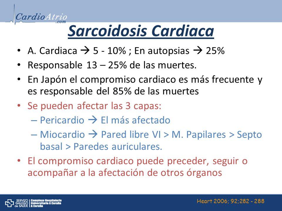 Sarcoidosis Cardiaca A. Cardiaca 5 - 10% ; En autopsias 25% Responsable 13 – 25% de las muertes. En Japón el compromiso cardiaco es más frecuente y es
