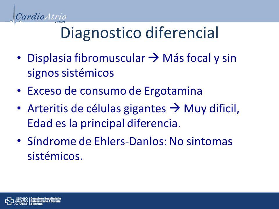 Diagnostico diferencial Displasia fibromuscular Más focal y sin signos sistémicos Exceso de consumo de Ergotamina Arteritis de células gigantes Muy di