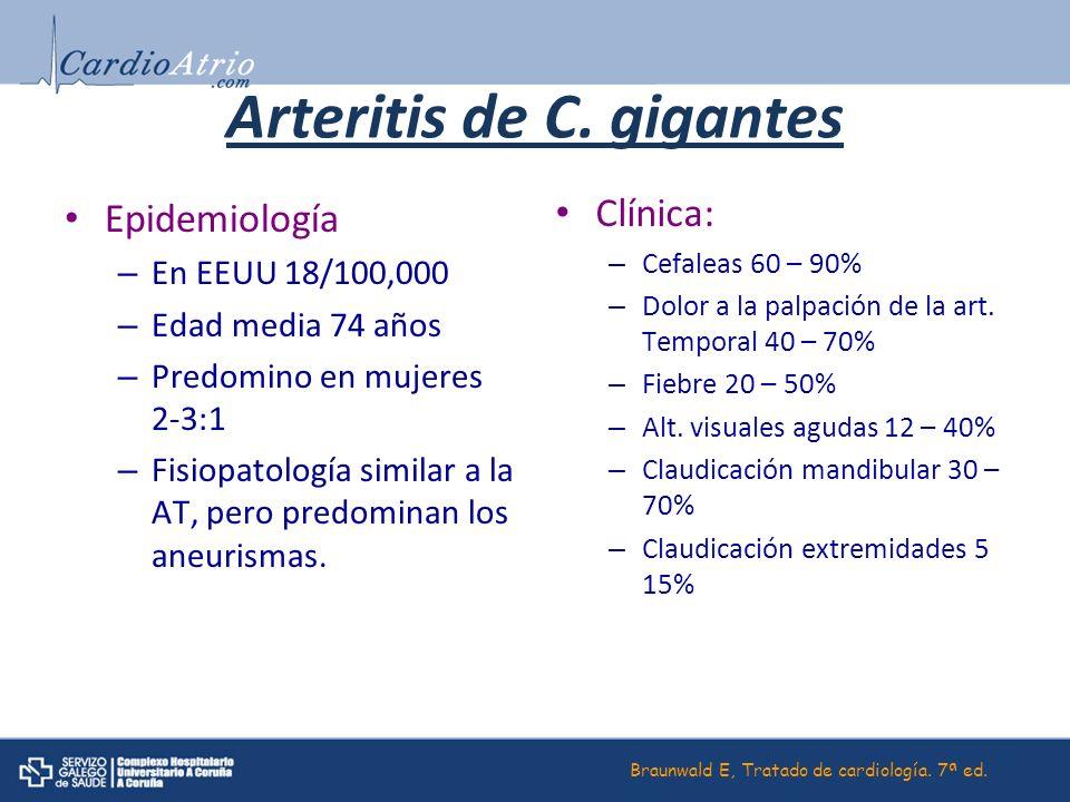 Arteritis de C. gigantes Epidemiología – En EEUU 18/100,000 – Edad media 74 años – Predomino en mujeres 2-3:1 – Fisiopatología similar a la AT, pero p