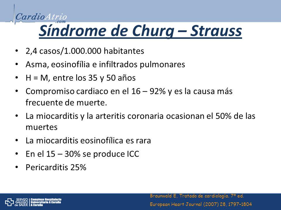 Síndrome de Churg – Strauss 2,4 casos/1.000.000 habitantes Asma, eosinofília e infiltrados pulmonares H = M, entre los 35 y 50 años Compromiso cardiac