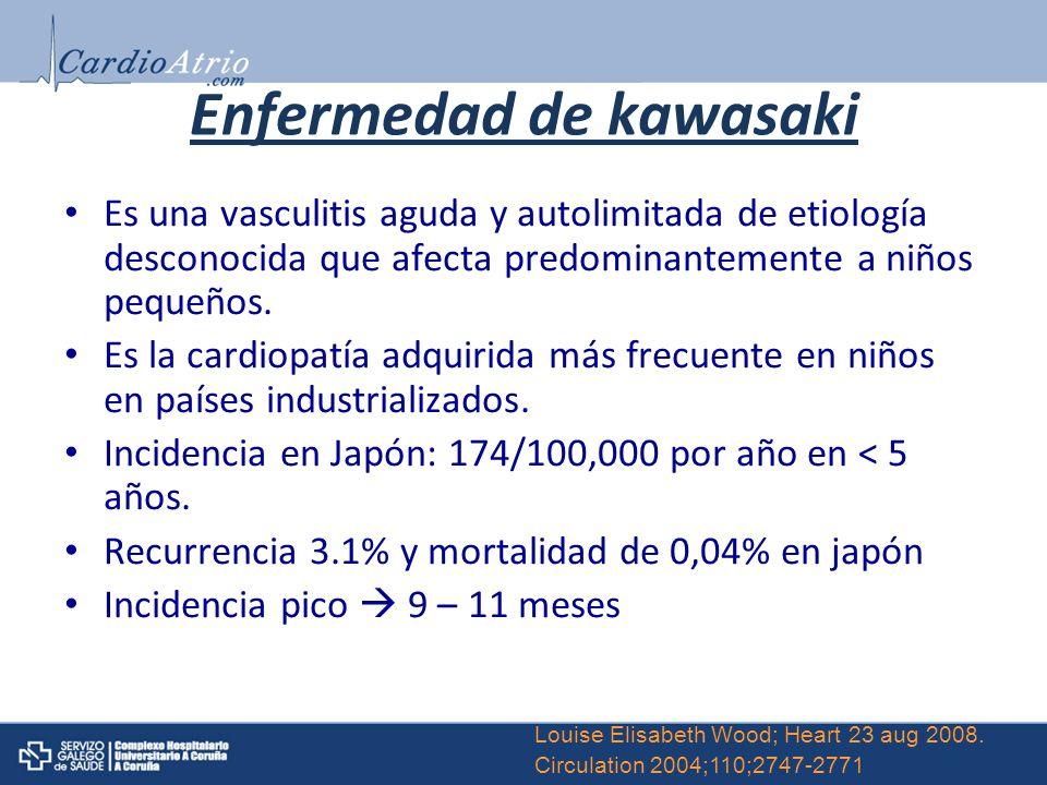 Enfermedad de kawasaki Es una vasculitis aguda y autolimitada de etiología desconocida que afecta predominantemente a niños pequeños. Es la cardiopatí