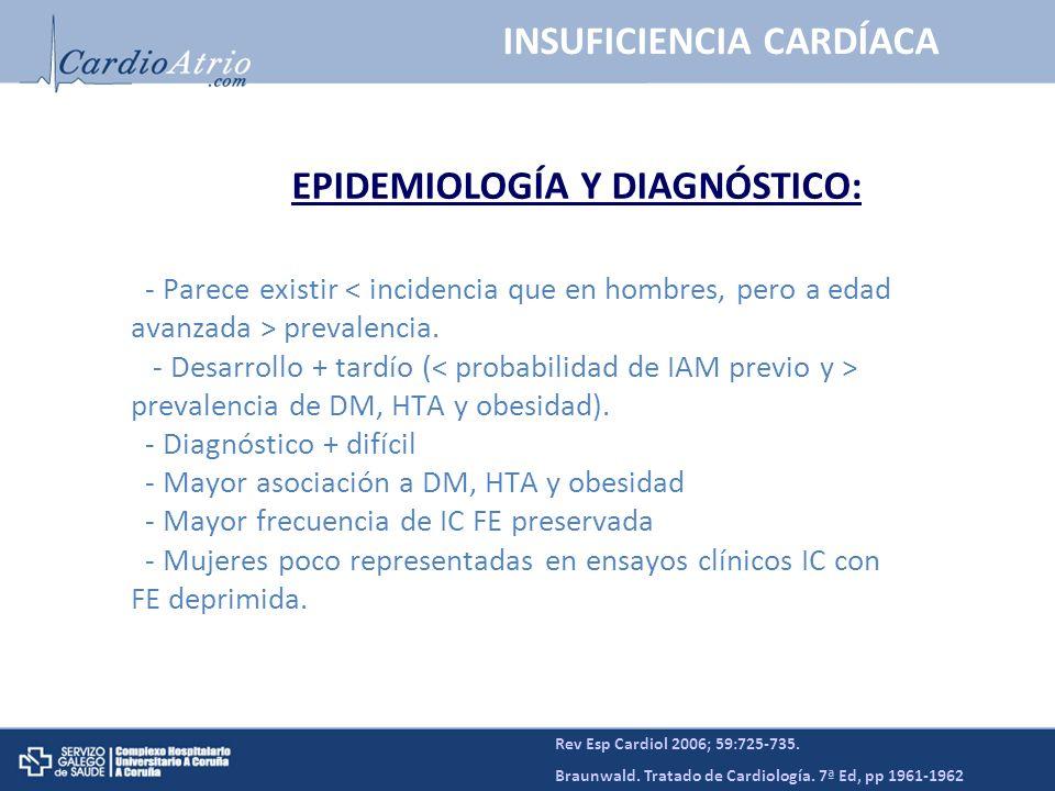 - Parece existir < incidencia que en hombres, pero a edad avanzada > prevalencia. - Desarrollo + tardío ( prevalencia de DM, HTA y obesidad). - Diagnó