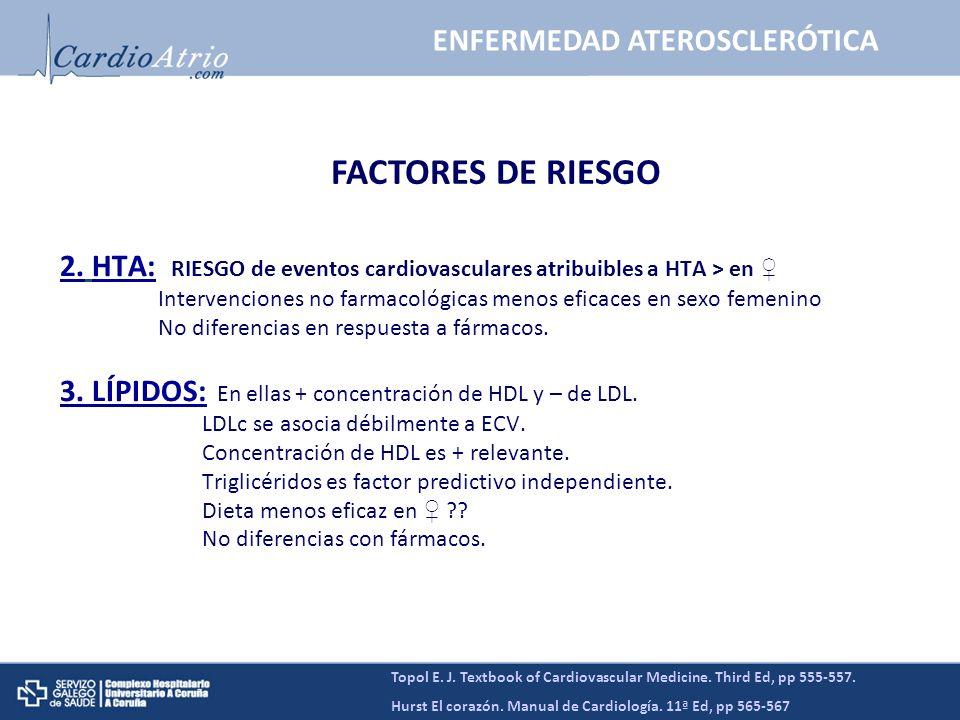 2. HTA: RIESGO de eventos cardiovasculares atribuibles a HTA > en Intervenciones no farmacológicas menos eficaces en sexo femenino No diferencias en r