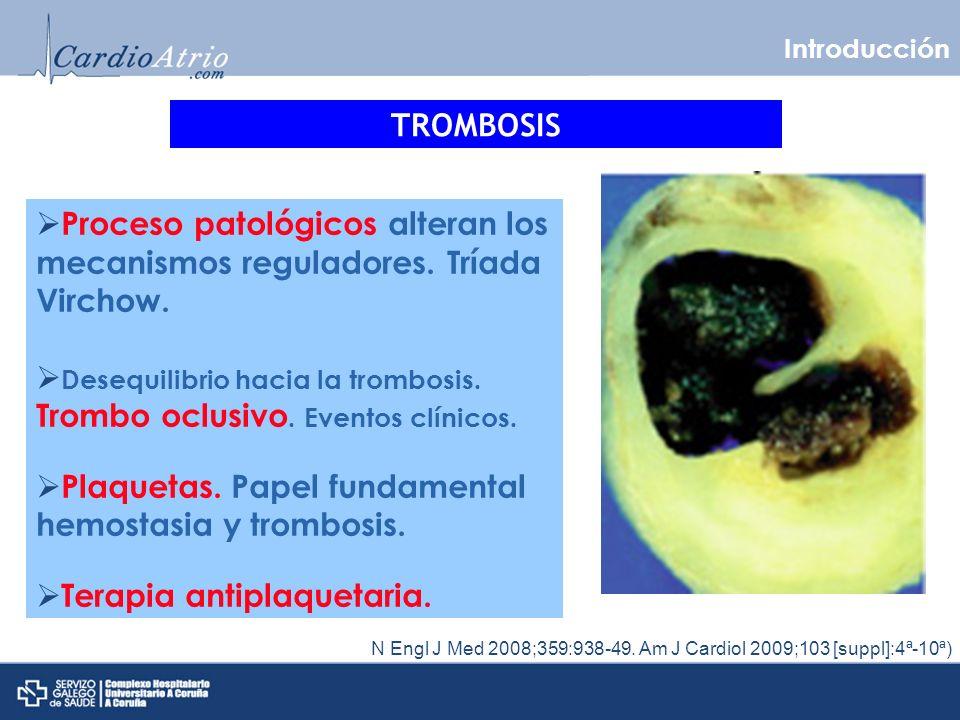Activación plaquetaria FACTOR TISULAR N Engl J Med 2008;359:938-49.