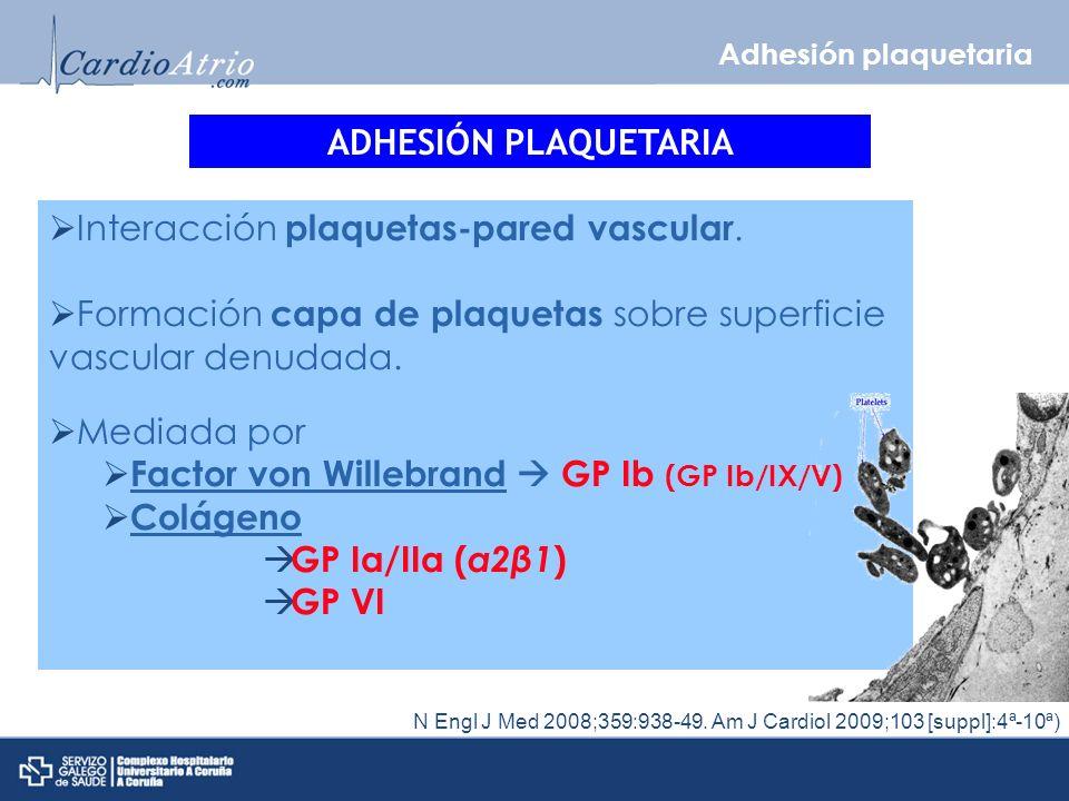 Adhesión plaquetaria N Engl J Med 2008;359:938-49.