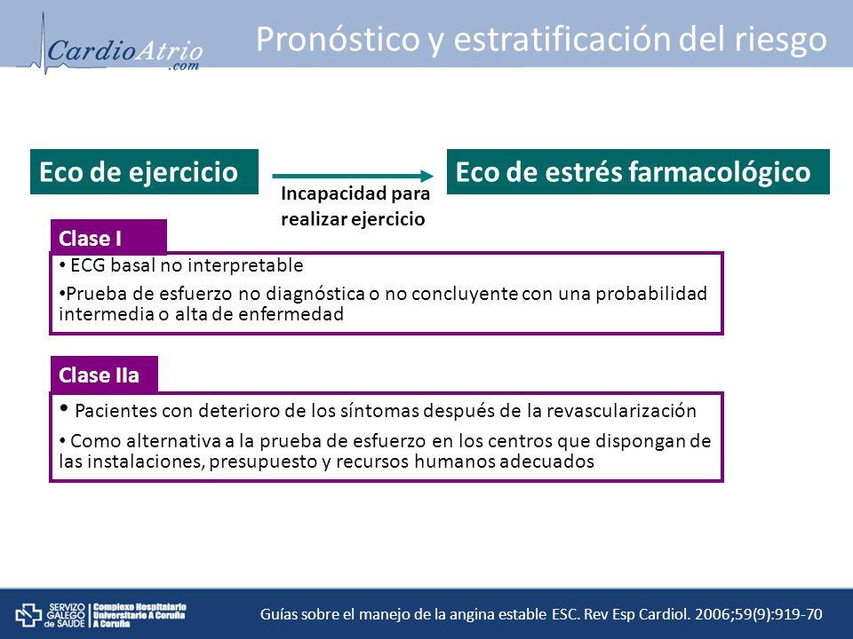 ECG basal no interpretable Prueba de esfuerzo no diagnóstica o no concluyente con una probabilidad intermedia o alta de enfermedad Clase I Pacientes c