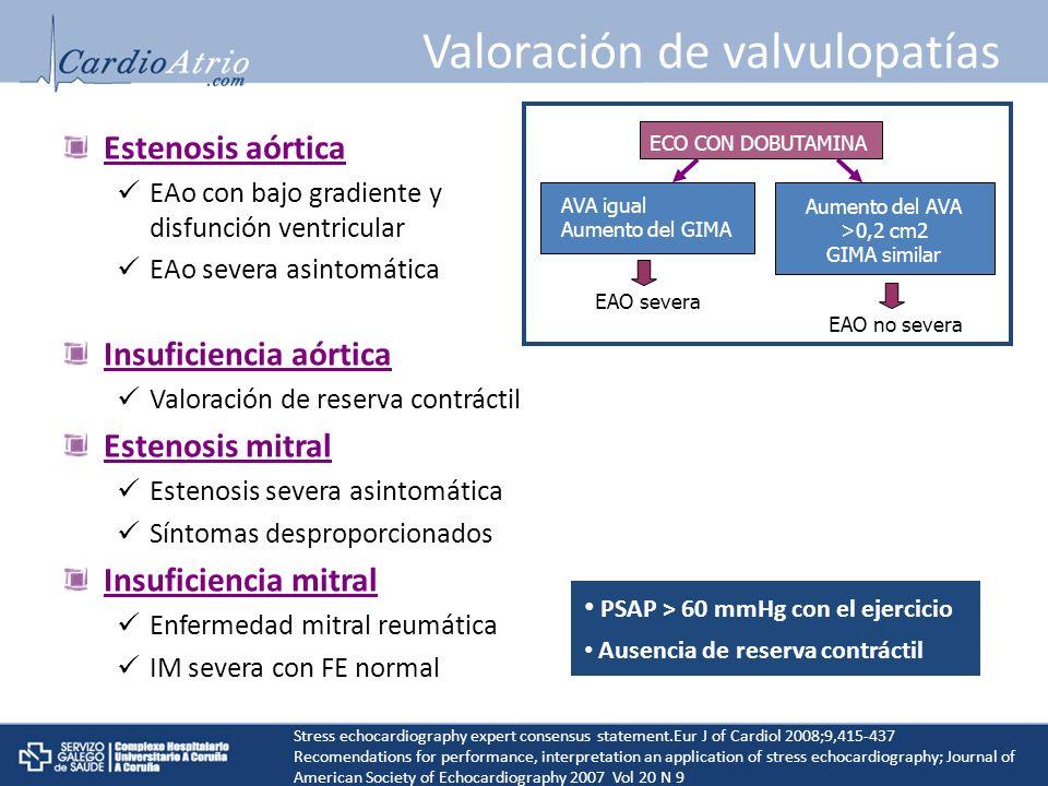 Valoración de valvulopatías Estenosis aórtica EAo con bajo gradiente y disfunción ventricular EAo severa asintomática Insuficiencia aórtica Valoración