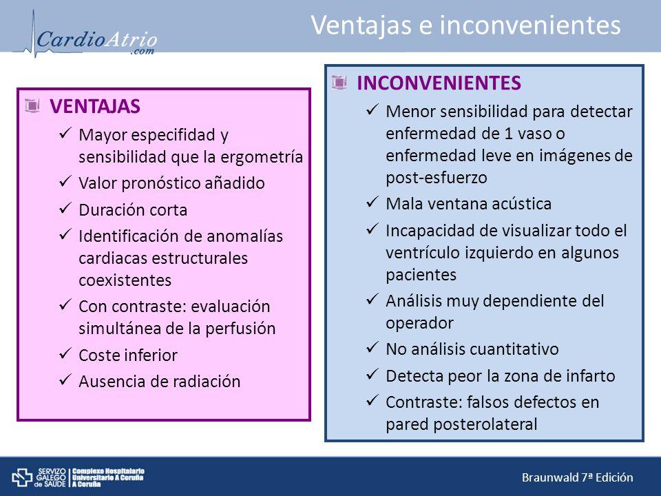 Ventajas e inconvenientes VENTAJAS Mayor especifidad y sensibilidad que la ergometría Valor pronóstico añadido Duración corta Identificación de anomal