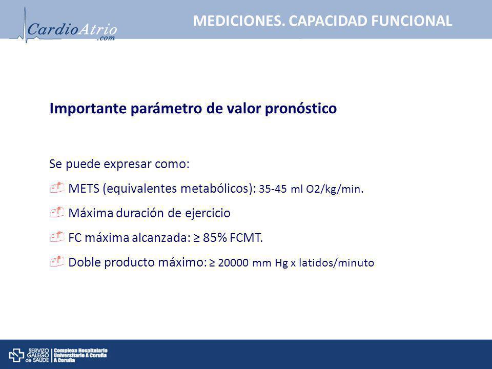 Importante parámetro de valor pronóstico Se puede expresar como: METS (equivalentes metabólicos): 35-45 ml O2/kg/min. Máxima duración de ejercicio FC