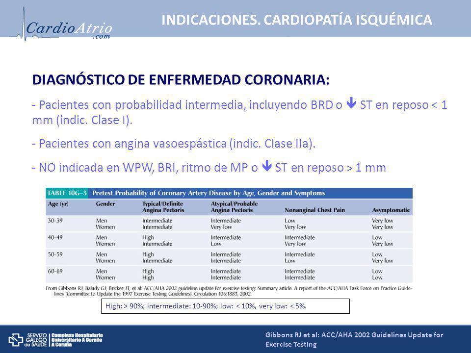 DIAGNÓSTICO DE ENFERMEDAD CORONARIA: - Pacientes con probabilidad intermedia, incluyendo BRD o ST en reposo < 1 mm (indic. Clase I). - Pacientes con a