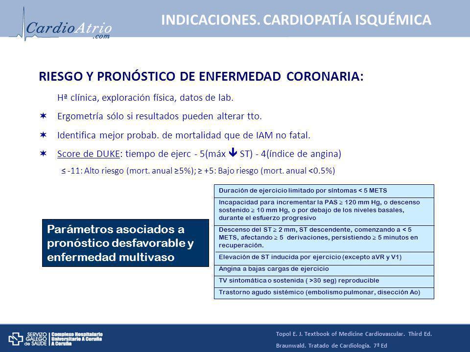 RIESGO Y PRONÓSTICO DE ENFERMEDAD CORONARIA: Hª clínica, exploración física, datos de lab. Ergometría sólo si resultados pueden alterar tto. Identific