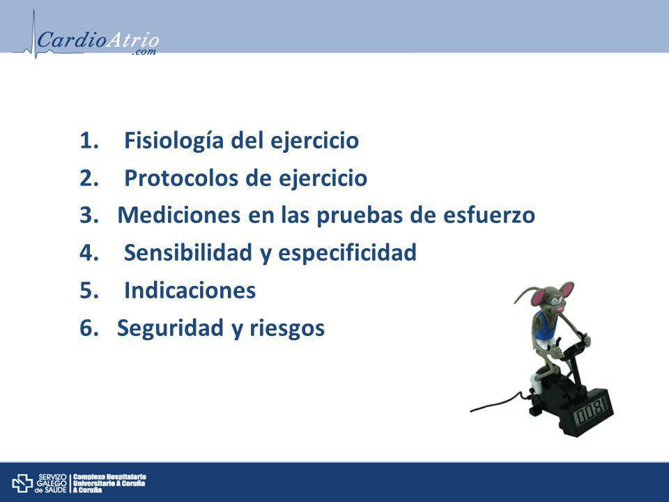 1.Fisiología del ejercicio 2.Protocolos de ejercicio 3. Mediciones en las pruebas de esfuerzo 4.Sensibilidad y especificidad 5.Indicaciones 6. Segurid