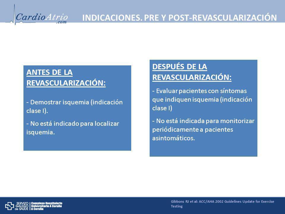 ANTES DE LA REVASCULARIZACIÓN: - Demostrar isquemia (indicación clase I). - No está indicado para localizar isquemia. DESPUÉS DE LA REVASCULARIZACIÓN: