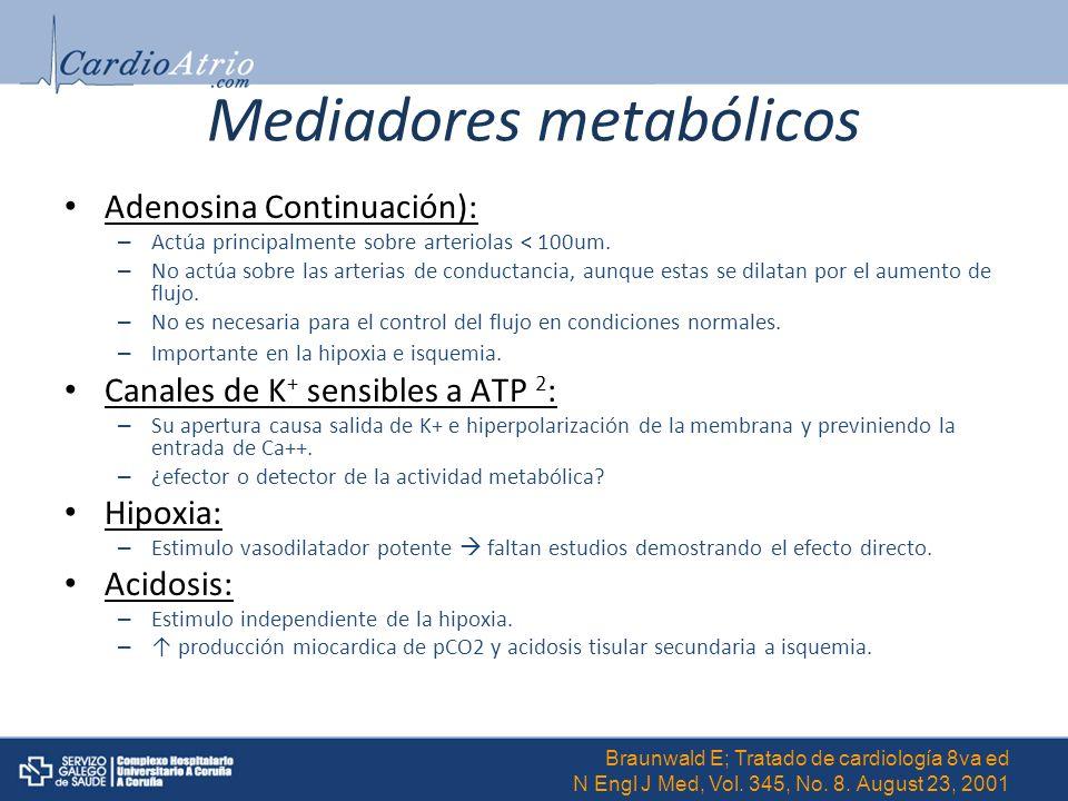 Mediadores metabólicos Adenosina Continuación): – Actúa principalmente sobre arteriolas < 100um.