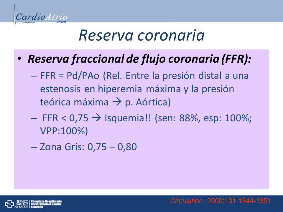 Reserva coronaria Reserva fraccional de flujo coronaria (FFR): – FFR = Pd/PAo (Rel.