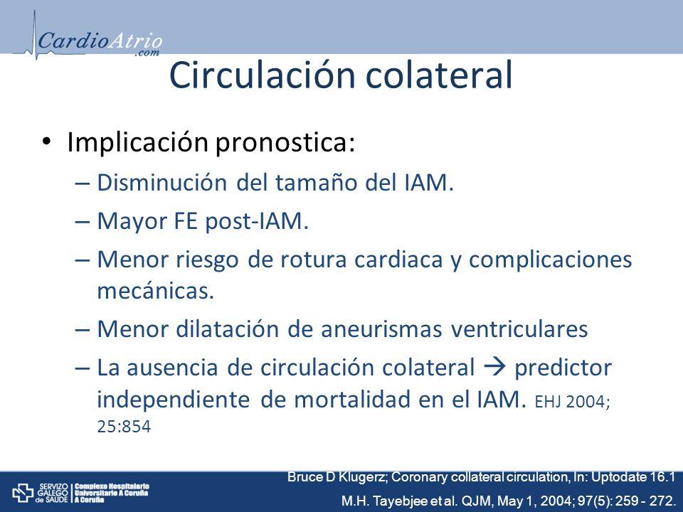 Circulación colateral Implicación pronostica: – Disminución del tamaño del IAM.