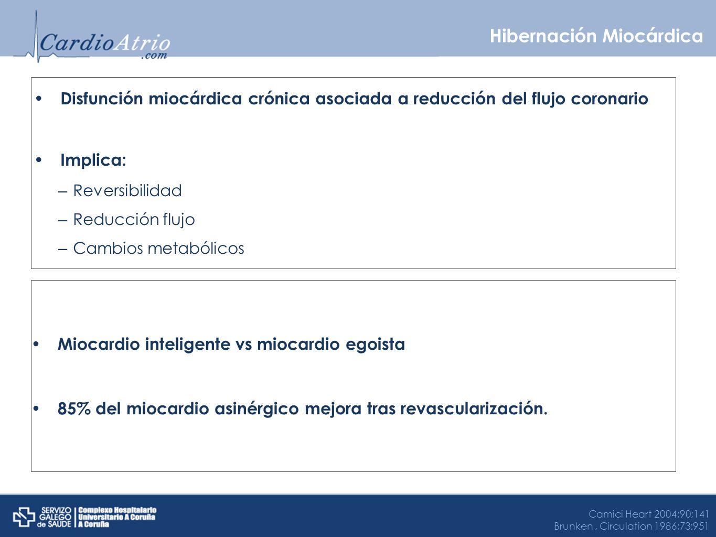 Disfunción miocárdica crónica asociada a reducción del flujo coronario Implica: – Reversibilidad – Reducción flujo – Cambios metabólicos Hibernación M