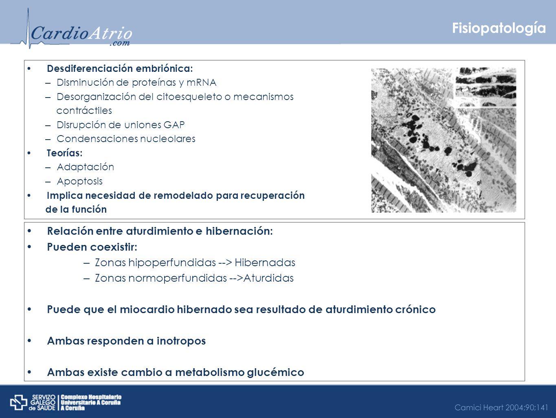 Fisiopatología Desdiferenciación embriónica: – Disminución de proteínas y mRNA – Desorganización del citoesqueleto o mecanismos contráctiles – Disrupc