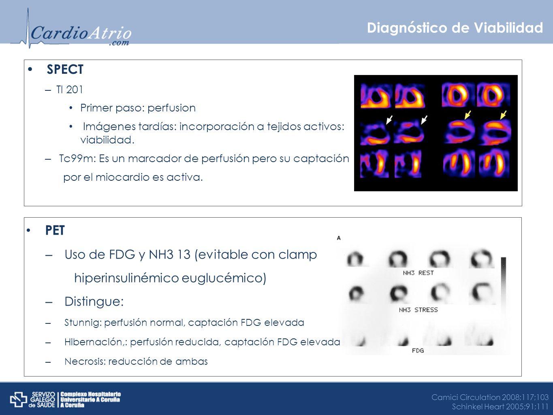 Diagnóstico de Viabilidad SPECT – Tl 201 Primer paso: perfusion Imágenes tardías: incorporación a tejidos activos: viabilidad. – Tc99m: Es un marcador