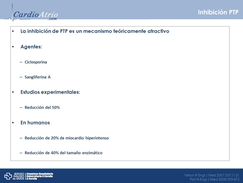 Inhibición PTP La inhibición de PTP es un mecanismo teóricamente atractivo Agentes: – Ciclosporina – Sangliferina A Estudios experimentales: – Reducci