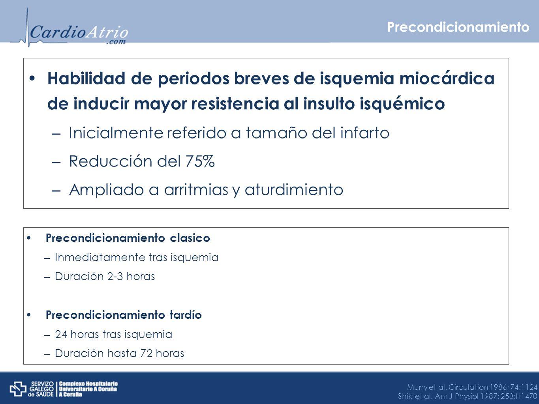 Precondicionamiento Habilidad de periodos breves de isquemia miocárdica de inducir mayor resistencia al insulto isquémico – Inicialmente referido a ta