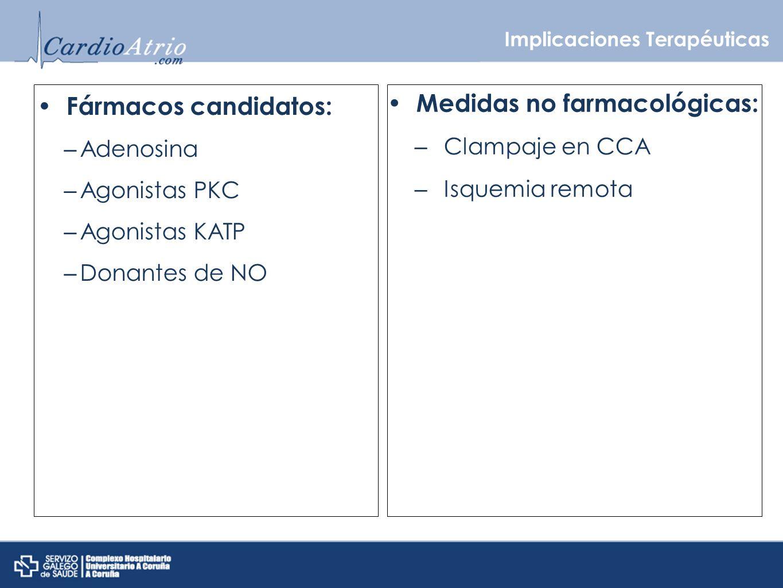 Implicaciones Terapéuticas Fármacos candidatos: – Adenosina – Agonistas PKC – Agonistas KATP – Donantes de NO Medidas no farmacológicas: – Clampaje en