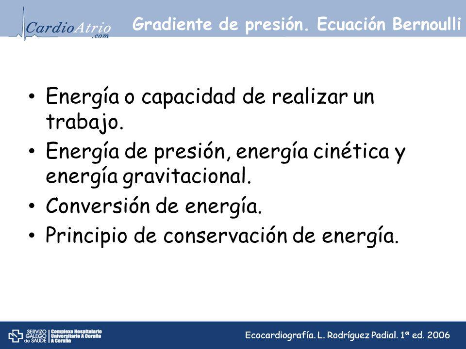 Gradiente de presión. Ecuación Bernoulli Energía o capacidad de realizar un trabajo. Energía de presión, energía cinética y energía gravitacional. Con