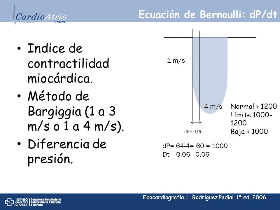 Ecuación de Bernoulli: dP/dt Indice de contractilidad miocárdica. Método de Bargiggia (1 a 3 m/s o 1 a 4 m/s). Diferencia de presión. 1 m/s 4 m/s dP=