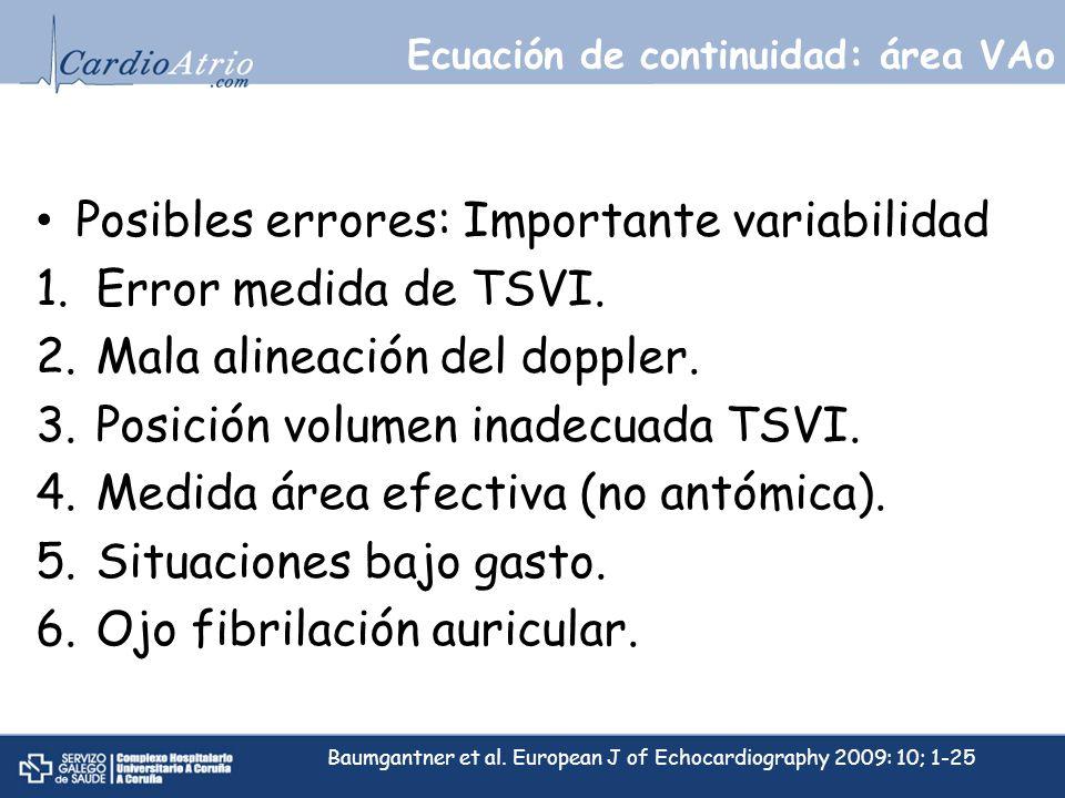 Posibles errores: Importante variabilidad 1.Error medida de TSVI. 2.Mala alineación del doppler. 3.Posición volumen inadecuada TSVI. 4.Medida área efe