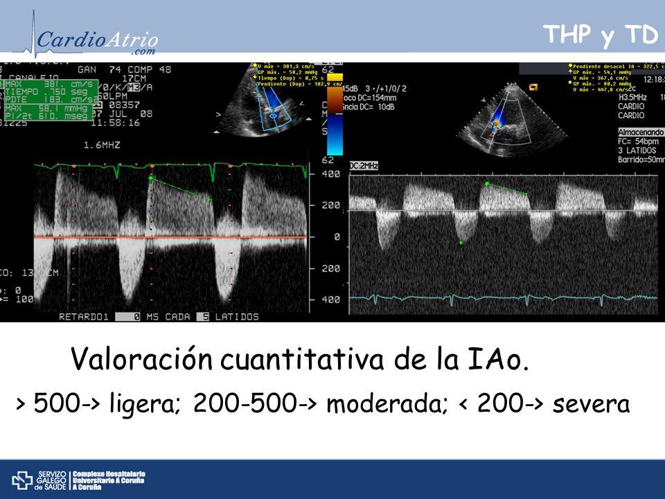 THP y TD Valoración cuantitativa de la IAo. > 500-> ligera; 200-500-> moderada; severa