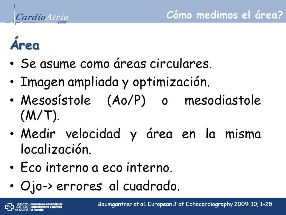 Cómo medimos el área? D2D2 D1D1 DIAMETRO AP VM Área Se asume como áreas circulares. Imagen ampliada y optimización. Mesosístole (Ao/P) o mesodiastole