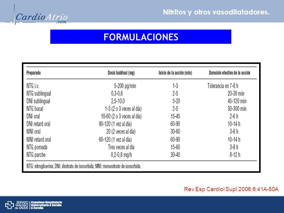 Nitritos y otros vasodilatadores. FORMULACIONES Rev Esp Cardiol Supl.2006;6:41A-50A