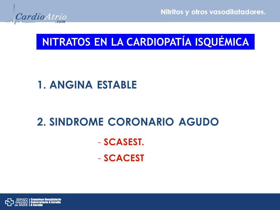 Nitritos y otros vasodilatadores. NITRATOS EN LA CARDIOPATÍA ISQUÉMICA 1. ANGINA ESTABLE 2. SINDROME CORONARIO AGUDO - SCASEST. - SCACEST