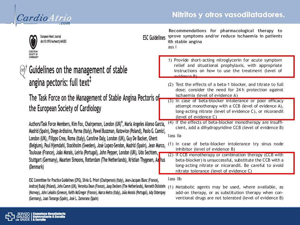 Nitritos y otros vasodilatadores. Efectividad nitratos VS betabloqueantes/ calcioantagonistas prevención de angina No suficientes estudios JAMA 1999;2