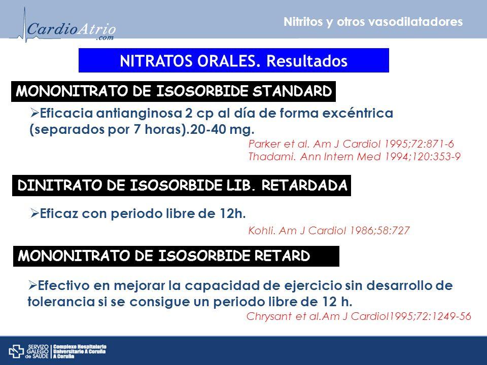 Nitritos y otros vasodilatadores NITRATOS ORALES. Resultados MONONITRATO DE ISOSORBIDE STANDARD Eficacia antianginosa 2 cp al día de forma excéntrica