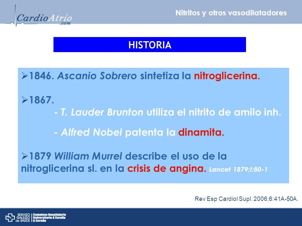 Nitritos y otros vasodilatadores HISTORIA 1846. Ascanio Sobrero sintetiza la nitroglicerina. 1867. - T. Lauder Brunton utiliza el nitrito de amilo inh