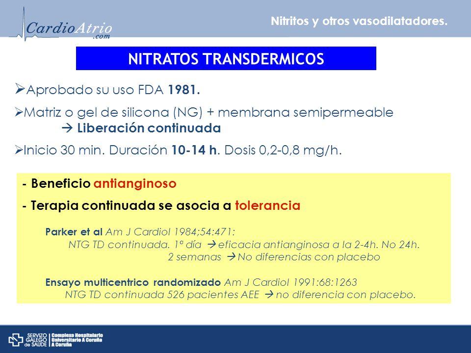 Nitritos y otros vasodilatadores. NITRATOS TRANSDERMICOS Aprobado su uso FDA 1981. Matriz o gel de silicona (NG) + membrana semipermeable Liberación c