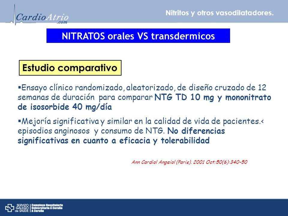 Nitritos y otros vasodilatadores. NITRATOS orales VS transdermicos Ensayo clínico randomizado, aleatorizado, de diseño cruzado de 12 semanas de duraci