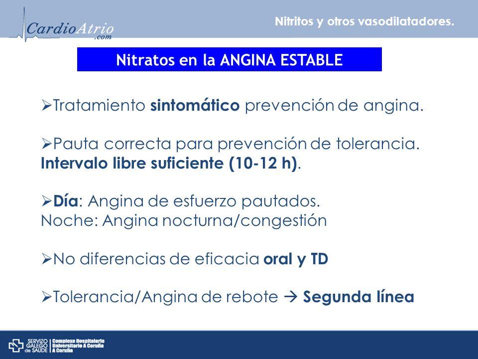 Nitritos y otros vasodilatadores. Nitratos en la ANGINA ESTABLE Tratamiento sintomático prevención de angina. Pauta correcta para prevención de tolera