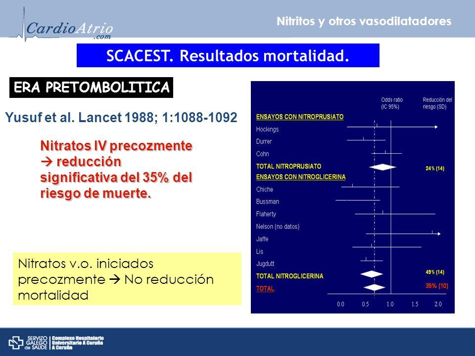 Nitritos y otros vasodilatadores SCACEST. Resultados mortalidad. ERA PRETOMBOLITICA Yusuf et al. Lancet 1988; 1:1088-1092 Nitratos IV precozmente redu